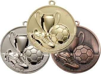 Fußballmedaille Ø 50 mm inkl. Wunschemblem und Kordel