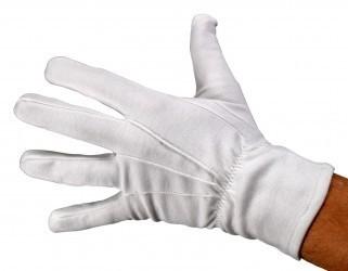 Premium Baumwollhandschuhe weiß mit Druckknopf