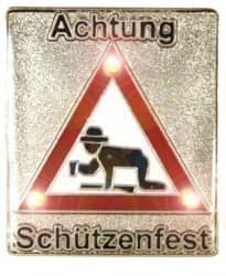 Achtung Schützenfest Pin mit Blinkis