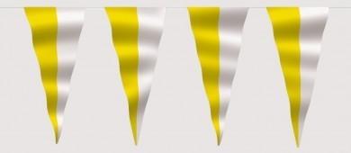 Wimpelkette gelb-weiß (geteilt) aus Stoff Meterware
