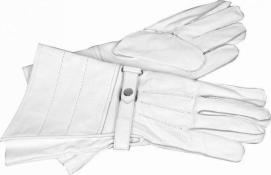 Stulpenhandschuhe aus Leder (weiß)