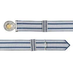 Feldbinde silber mit blauen Streifen (blau National)