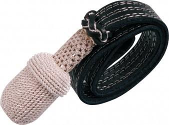 Portepee silber mit schwarzem Lederriemen