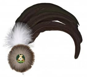 Hahnenschlappe - Schützenfeder mit 8 langen Federn broncegrün + Flaum