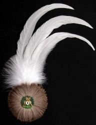 Hahnenschlappe - Schützenfeder weiß mit 3 Federn + Flaum
