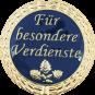 Auflage mit Schriftzug Für besondere Verdienste blau