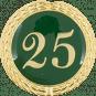 Auflage mit Zahl 25 grün