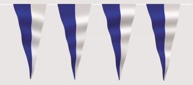 Wimpelkette blau-weiß (geteilt) aus Stoff Meterware